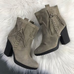 Nine West Leather Taupe Ankle Booties, Size 8.5